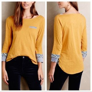 LITTLE YELLOW BUTTON | Yellow Pattern Pocket Tee